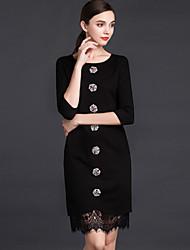 Jojo HANS женская работа сложная оболочка dresssolid вокруг шеи выше колена рукав черный полиэстер