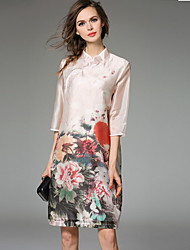 JOJO HANS  Women's Going out Vintage / Cute Sheath Dress,Floral Stand Above Knee ¾ Sleeve White Silk
