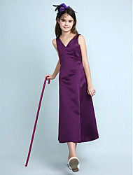 Lanting Bride® Knee-length Satin Junior Bridesmaid Dress A-line / Princess V-neck Natural with