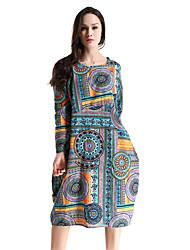 HANBELLE Women's Round Neck Long Sleeve Tea-length Dress-868#