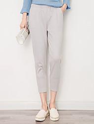 De las mujeres Pantalones Chinos / Harén-Simple Microelástico-Algodón