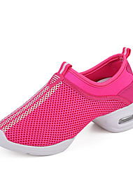 Women's Dance Shoes Fabric Fabric Dance Sneakers Split Sole Chunky Heel Performance Black / Red / White