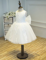 A-line Knee-length Flower Girl Dress - Tulle Sleeveless Jewel with Appliques / Bow(s)