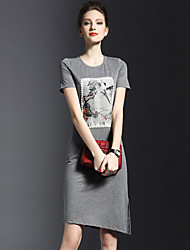 Women's Plus Size / Casual/Daily Simple T Shirt Dress,Print Round Neck Knee-length Short Sleeve Black / Gray Polyester