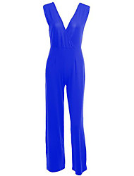 Women's Solid Backless Fashion Slim Jumpsuits,Sexy Deep V Sleeveless