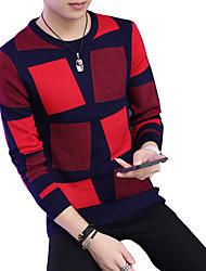 Herren Pullover-Verziert Freizeit Baumwolle Lang Orange / Rot / Beige / Grau