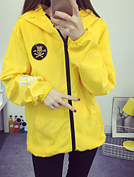 Women's Casual/Daily Simple Spring Jackets,Embroidered Hooded Long Sleeve Black / Yellow Cotton Medium