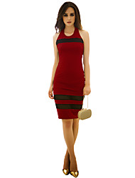 Women's Party/Cocktail Sexy / Cute Dress,Color Block Knee-length Sleeveless Red / Gray Spandex All Seasons