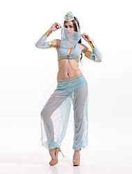 Dança do Ventre Roupa Mulheres Actuação Poliéster Pano 2 Peças Azul Claro Dança do Ventre Sem Mangas Natural Calças / Top