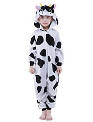 Kigurumi Pajamas New Cosplay® / Milk Cow Leotard/Onesie Festival/Holiday Animal Sleepwear Halloween Black/White Animal Print Polar Fleece