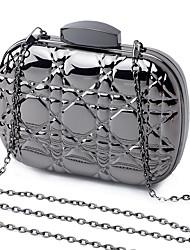 L.west Women Elegant High-grade Geometry Stereo Ling plaid Tin Box Evening Bag