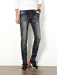 Men's Slim Retro Style Bleached Jeans,Cotton / Polyester Blue
