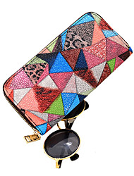 Lady Casual PU Color Geometric Stitching Pattern Event Wallet Money Clip Clutch