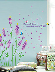 Romance Home And Garden Lavender Flower Butterfly Wall Stickers DIY Fashion Removable Living Room Wall Decals