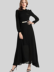Women's Casual/Daily Simple Sheath Dress,Solid Shirt Collar Maxi Long Sleeve Black Polyester Fall / Winter