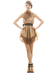 JOANNE KITTEN Women's Holiday Dress,Color Block Above Knee Sleeveless Brown Polyester All Seasons