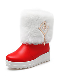 Women's Boots Fall / Winter Snow Boots Leatherette Dress Wedge Heel Buckle Black / Red / White Snow Boots