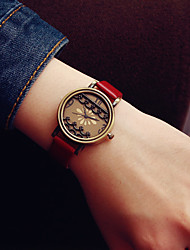 Ladies' Vintage Brass Window Flower PU Casual Wrist Quartz Watch