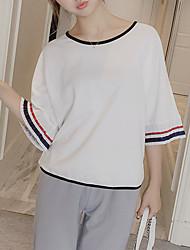Damen Solide Street Schick Lässig/Alltäglich T-shirt,Rundhalsausschnitt Sommer ¾-Arm Blau / Weiß Baumwolle Mittel