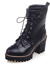 Women's Boots Fashion Boots / Combat Boots / Round Toe Office & Career / Dress / Casual Chunky Heel Magic Tape /