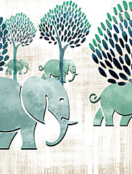 JAMMORY 3XL(14'7''*9'2'')3D Wallpaper For Home Contemporary Wall Covering Canvas Material Children's Cartoon Elephant