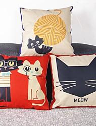 Set Of 3 Meow Cats Print Linen Pillow Cover
