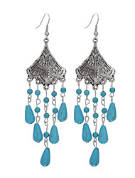 Bohemian Fashion Trendy Vintage Sector Shape Tibetan Silver Turquoise Drop Dangle Earrings Jewelry