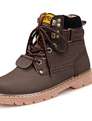 Men's Boots Cowhide Fall Winter Casual Work & Safety Walking Lace-up Flat Heel Yellow Brown Taupe
