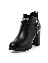 Women's Boots Fall / Winter Fashion Boots Leatherette Dress Chunky Heel Zipper Black / Red Walking