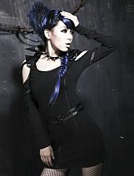 Punk Rave q-178 Frauen-Weinlese / sexy Mikro-elastisch lange Hülse über Knie-Kleid (Spandex)