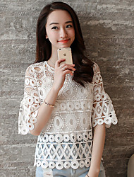 Women's Casual/Daily Simple Summer Set,Solid Round Neck ½ Length Sleeve White Cotton Thin