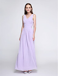 Ankle-length Chiffon Elegant Bridesmaid Dress - Sheath / Column V-neck with Criss Cross