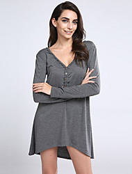 Women's Simple Loose Dress,Solid Deep V Asymmetrical Long Sleeve Gray Cotton Spring