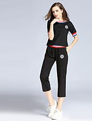 JOJ женщин происходит из мило весной набор брюки, твердый шею с коротким рукавом красный шелк непрозрачным