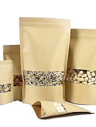 fenêtre auto sacs en papier kraft Ziplock sacs de sacs d'autosuffisance de séchées emballage des sacs de nourriture de fruit un paquet de