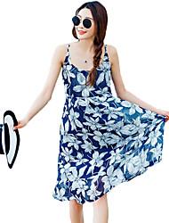 Women's Beach Boho Chiffon Dress,Floral Strap Knee-length Sleeveless Blue Polyester Summer