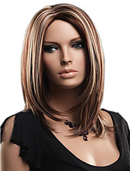 Blonde Brown Mixed Color Middle Straight Wigs Capless Synthetic Wigs For Women
