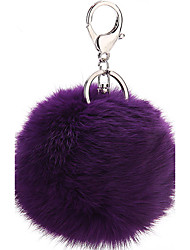 Fake Fox Fur Ball Key Ring Multi Colors