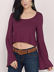 Women's Casual Street chic Fall Loose Fashion Short T-shirt,Solid Long Sleeve Red / White / Black / Brown Rayon