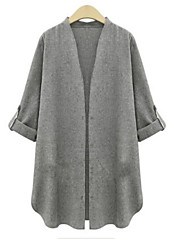 Women's Casual/Daily Simple Fall Jackets,Solid Shawl Lapel Long Sleeve White / Gray Linen Opaque