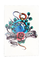 1pc Blue Clock Rose Leaf Flower Arm Decal Women Men Body Art Temporary Tattoo Sticker HB-027
