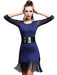 Latin Dance Dresses Women's Training Tassel(s) 1 Piece Latin Dance 3/4 Length Sleeve High Dress