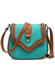 Women PU Color Stitching Woven Edging Clamshell Casual  Shoulder Saddle bags