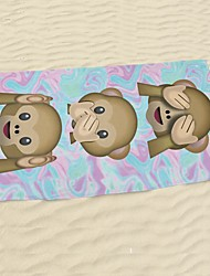 "1 PC Micro Fiber Beach Towel 55"" by 27"" Emoji Monkeys Pattern"