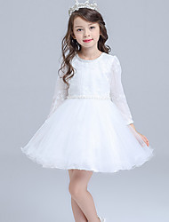 A-line Knee-length Flower Girl Dress - Lace / Organza / Satin Long Sleeve Jewel with Flower(s) / Lace