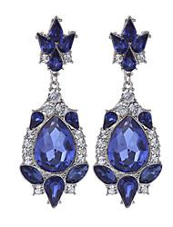 Fashion Luxury Water Drop Long Earrings Silver Plated Austria Blue Crystal Dangle Earrings For Women Jewelry brinco