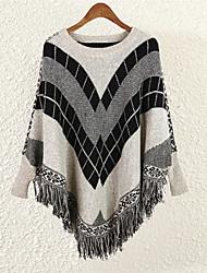 Long Cape / Capes Femme Sortie simple,Rayé Gris / Vert Col Arrondi Sans Manches Coton Printemps / Automne Moyen Micro-élastique