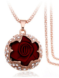 Necklace Pendant Necklaces Jewelry Wedding / Party / Daily / Casual Fashion / Gift Boxes & BagsAlloy / Rhinestone / Fabric / Rose Gold