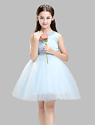 A-line Knee-length Flower Girl Dress - Cotton / Satin / Tulle Sleeveless Jewel with Beading / Crystal Detailing