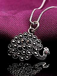 Women's Sterling Silver Rhinestone Simulated Diamond Peacock Fashion Silver Jewelry 1set